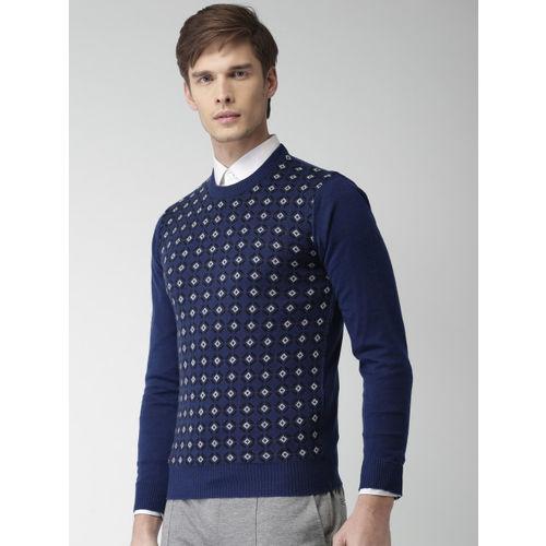 INVICTUS Men Blue & Black Self Design Pullover