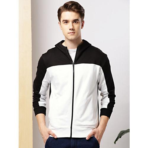 INVICTUS Men White & Black Colourblocked Hooded Sweatshirt