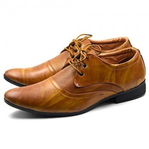 DE LOYON Tan Synthetic Leather Lace Up Formal Shoes