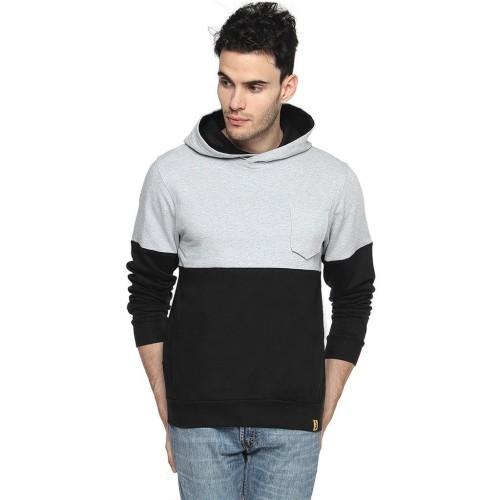 Campus Sutra Black Cotton Contrast Panel Sweatshirt
