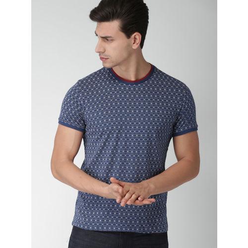 Blue Printed Round Neck T-Shirt