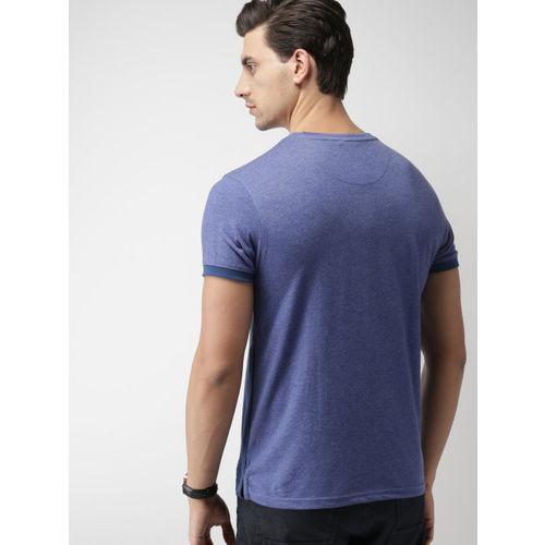 INVICTUS Men Blue & Purple Colourblocked Slim Fit T-shirt