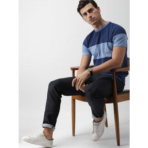 Blue Colourblocked Slim Fit T-shirt