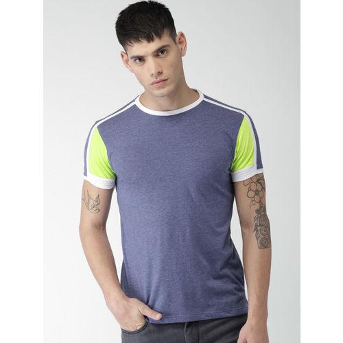 Men Blue Solid Round Neck T-shirt