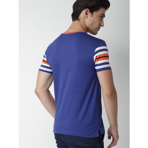 Blue Striped Slim Fit Round Neck T-shirt