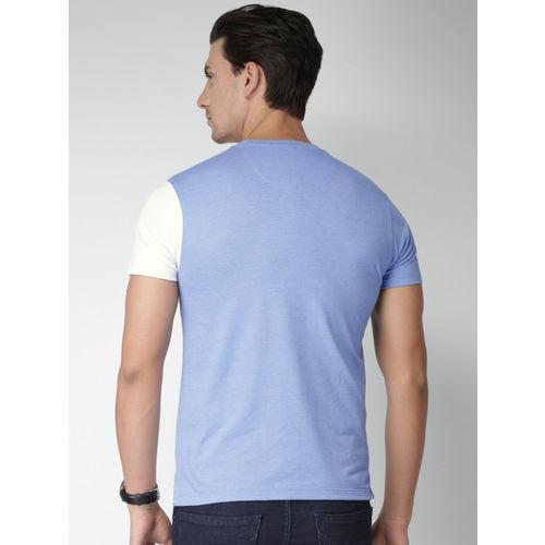 INVICTUS Men Blue & White Colourblocked Slim Fit T-shirt