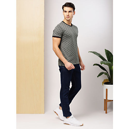 Grey Melange Printed Round Neck T-Shirt