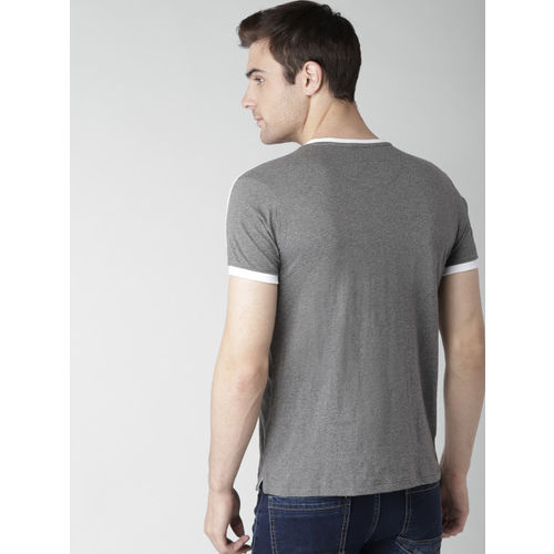 Men Charcoal Grey Solid Round Neck T-shirt