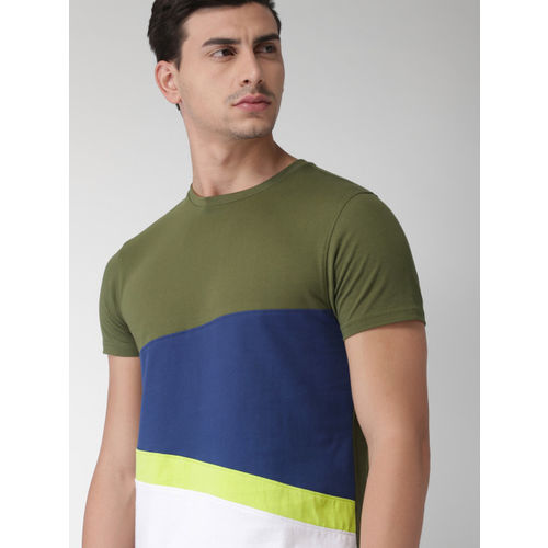 Olive Solid Round Neck T-Shirt