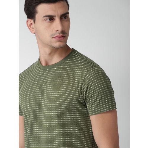 Green Printed Round Neck T-Shirt