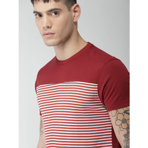 Maroon Striped Round Neck T-Shirt