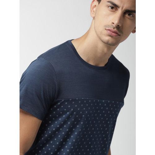 Navy Blue Printed Slim Fit Round Neck T-shirt