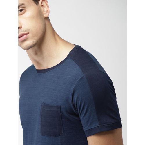 Navy Blue Solid Slim Fit Round Neck T-shirt