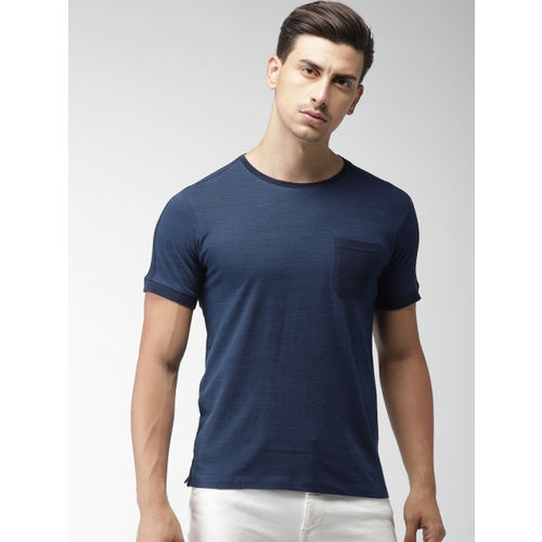 Navy Blue Solid Slim Fit Round Neck T-shirt