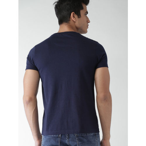 Men Navy Blue & White Striped Round Neck T-shirt