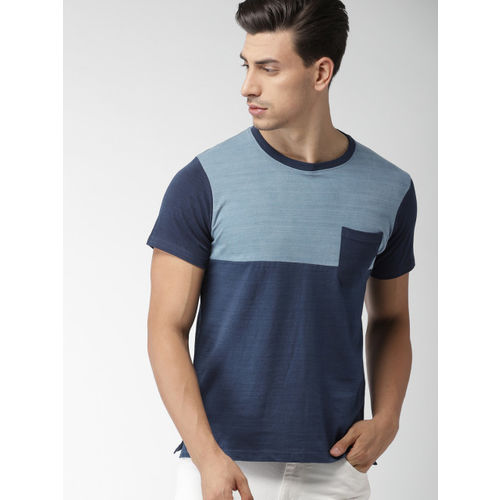 Navy Blue Colourblocked Round Neck T-shirt