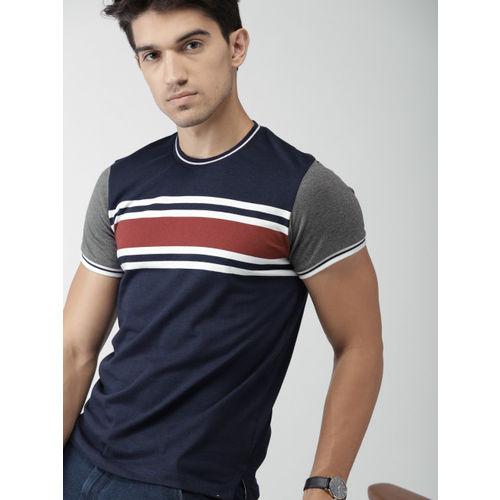 Navy Blue Striped Slim Fit Round Neck T-shirt