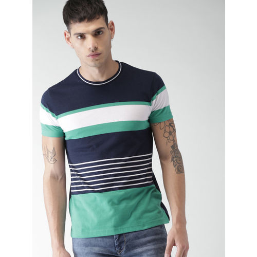 1f7f8c5de5b6 Buy Men Navy Blue Striped Slim Fit Round Neck T-shirt online ...