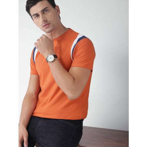 Orange Solid Round Neck T-Shirt