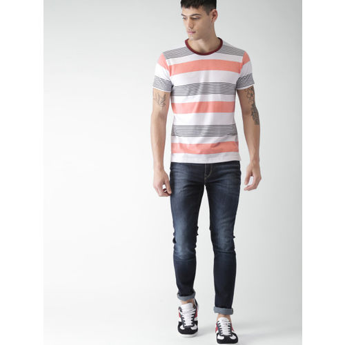 Men White & Peach-Coloured Striped Round Neck T-shirt