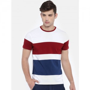 White & Maroon Colourblocked T-shirt