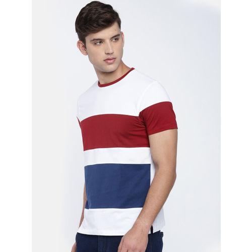 White & Maroon Colourblocked T-shirt
