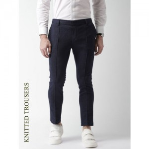 INVICTUS Men Navy Slim Fit Solid Regular Trousers