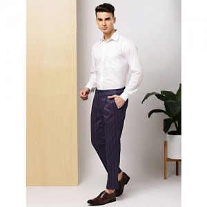 INVICTUS Men Navy Blue & Red Slim Fit Striped Formal Trousers