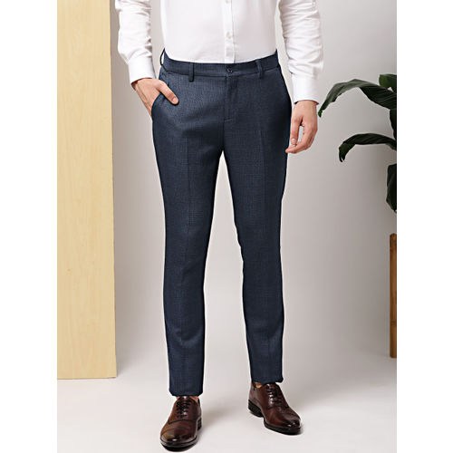 e6b738538942 Buy INVICTUS Men Navy Blue Slim Fit Checked Formal Trousers online ...