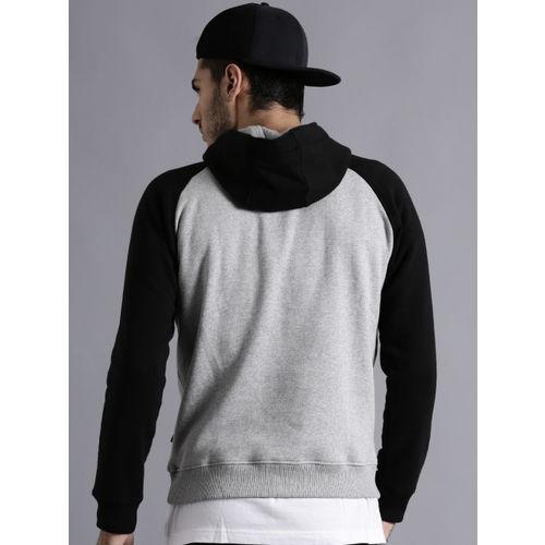 Kook N Keech Marvel Grey Melange Printed Colourblocked Hooded Sweatshirt