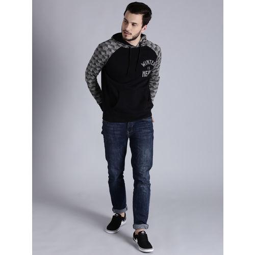 Game of Thrones by Kook N Keech Men Black & Grey Solid Hooded Sweatshirt