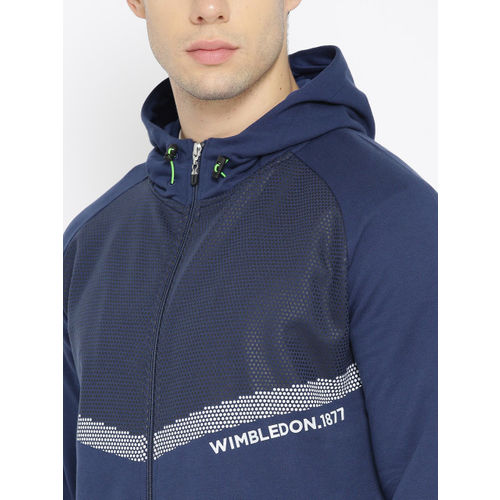 Solly Sport Men Navy Blue Printed Hooded Sweatshirt