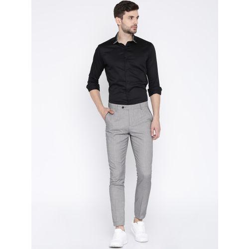 INVICTUS Men Grey Slim Fit Self Design Cigarette Trousers