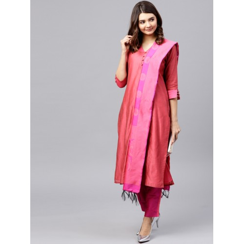 Jaipur Kurti Magenta Silk Blend Kurta with Trousers & Dupatta