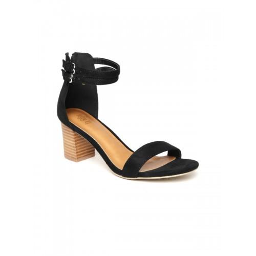 tresmode Women's Yesenia Black Suede Block Heel Dress Sandal 6 UK/India /(39 EU)