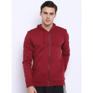 Adidas Men Maroon Solid Essentials Base FZ SLB Training Sweatshirt