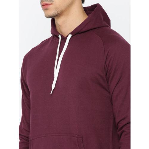ether Men Maroon Solid Hooded Sweatshirt