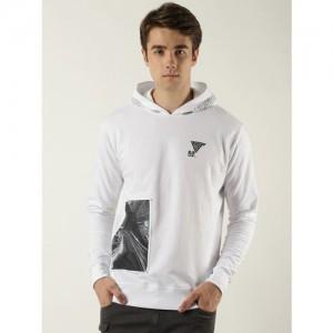Blue Saint Men White & Black Printed Hooded Sweatshirt