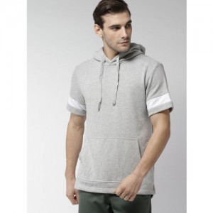 FOREVER 21 Men Grey Melange Solid Hooded Sweatshirt