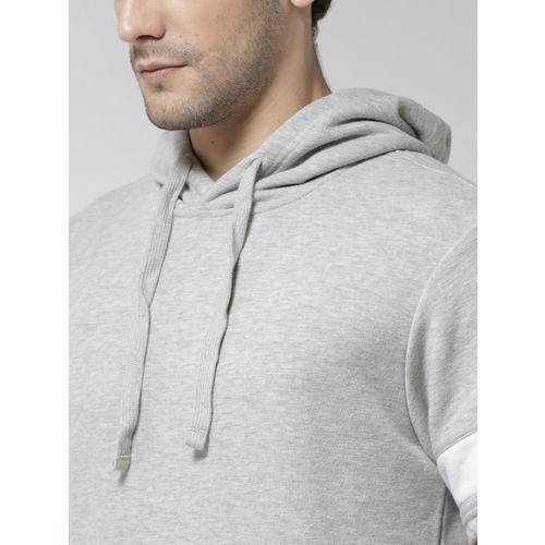 FOREVER 21 Men Grey Melange Solid Hooded Sweatshirt