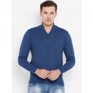 Blackberrys Men Navy Blue Self Design Pullover