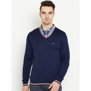 Blackberrys Men Navy Blue Solid Sweater