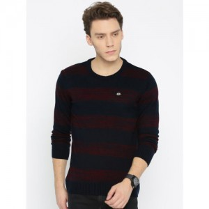 Roadster Men Navy Blue & Red Striped Sweater