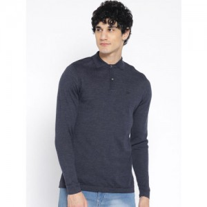 Blackberrys Men Navy Blue Solid Pullover