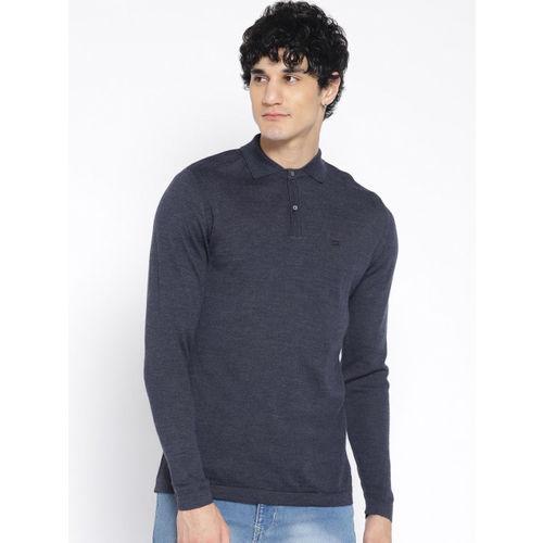 Blackberrys Men Navy Blue Solid Pullover