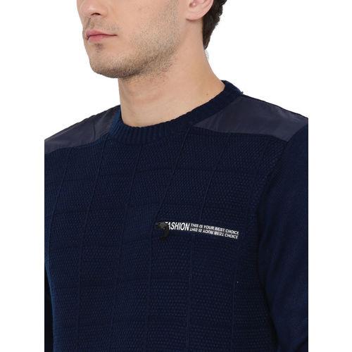 Duke Men Navy Blue Solid Pullover