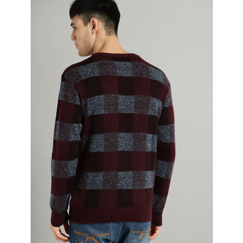 Roadster Men Maroon & Grey Checked Pullover