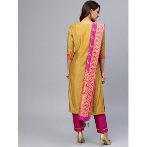 Jaipur Kurti Mustard Yellow & Pink Silk Blend Yoke Design Kurta with Trousers & Dupatta