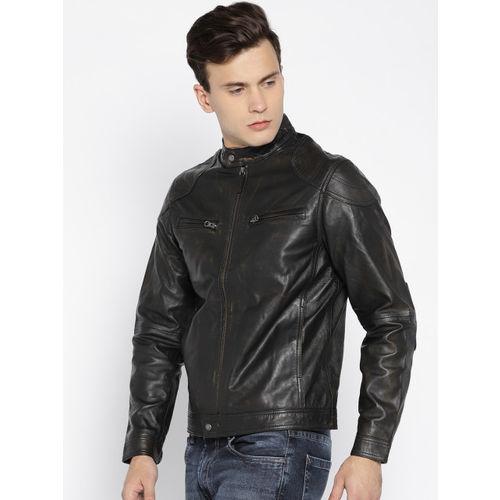 U.S. Polo Assn. Denim Co. Men Black Solid Leather Jacket