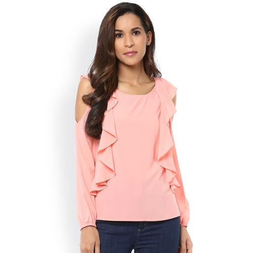 30d54c3aa915d Buy Harpa Women Pink Cold Shoulder Top online